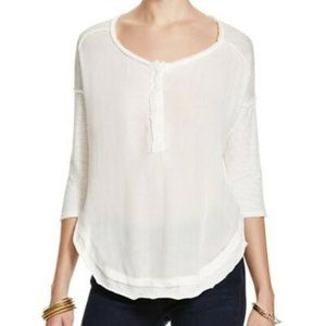FREE PEOPLE Sunday Henley Tee in Ivory - XS